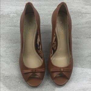Bcbgeneration Brown Leather Wedges Size 6.5